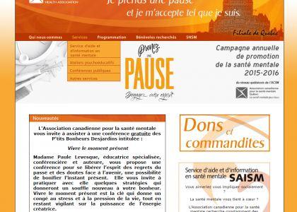 Page d'accueil, ACSM filiale de Québec